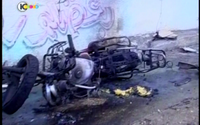 The destroyed motorbike in Gaza. (screenshot Channel 10)