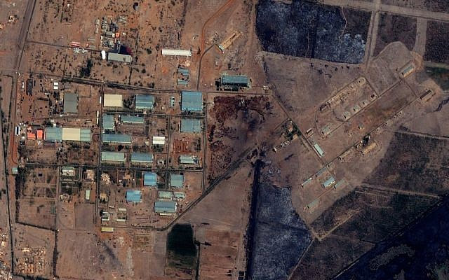 The Yarmouk military complex in Khartoum, Sudan, seen in a satellite image made on October 12, 2012, prior to the alleged attack (photo credit: AP/DigitalGlobe via Satellite Sentinel Project)