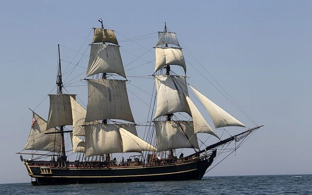 The tall ship HMS Bounty sails on Lake Erie off Cleveland, July 2007. The U.S. Coast Guard rescued 14 members of the crew forced to abandon the HMS Bounty caught in Hurricane Sandy off North Carolina. (photo credit: AP/Mark Duncan)