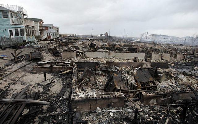 Illustrative photo of damage caused by Hurricane Sandy (photo credit: AP/Frank Franklin II)
