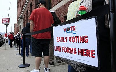 Illustrative: Voters stand in line outside the Hamilton County Board of Elections for early voting, in Cincinnati, Ohio, October 22, 2012. (AP/Al Behrman)