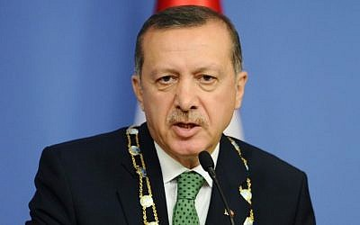Turkey's Prime Minister Recep Tayyip Erdogan speaking in Ankara, in October (photo credit: AP)