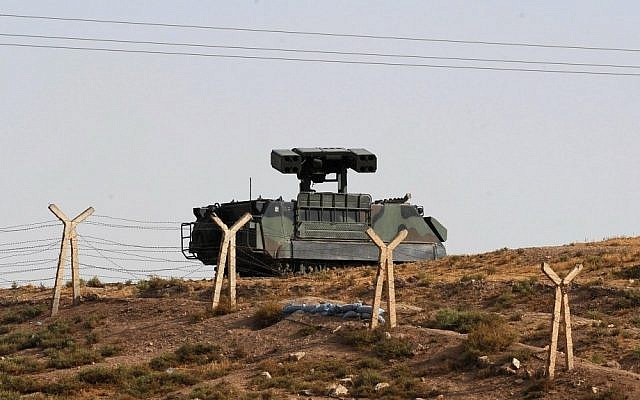Turkish military stationed along the Syrian border in October, 2012 (photo credit: AP)