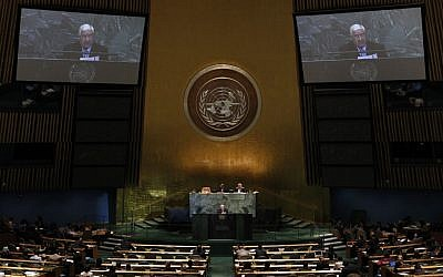 Walid Moallem, foreign minister of Syria, addresses the 67th session of the United Nations General Assembly on Monday, October 1, 2012 (photo credit: AP Photo/Jason DeCrow)