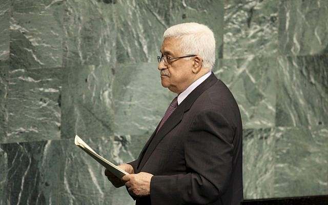 Palestinian President Mahmoud Abbas leaves the podium after speaking during the 67th session of the United Nations General Assembly at UN headquarters, September 27, 2012. (photo credit: AP/Seth Wenig)