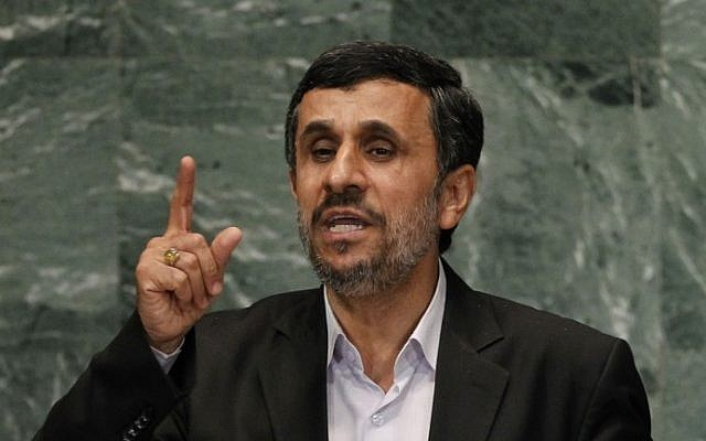Iranian President Mahmoud Ahmadinejad addresses the UN General Assembly in New York City in September 2012 (photo credit: AP/Jason DeCrow)