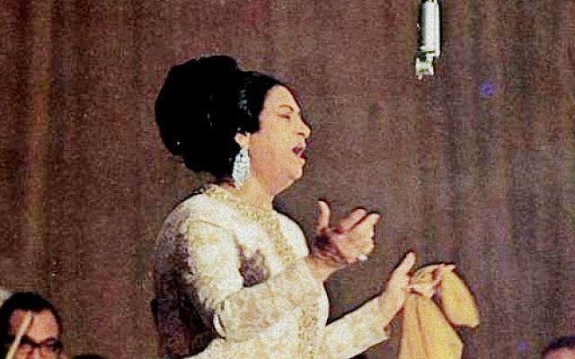 Umm Kulthum at one of her last public concerts in 1968 (photo credit: CC BY public domain/Wikipedia)