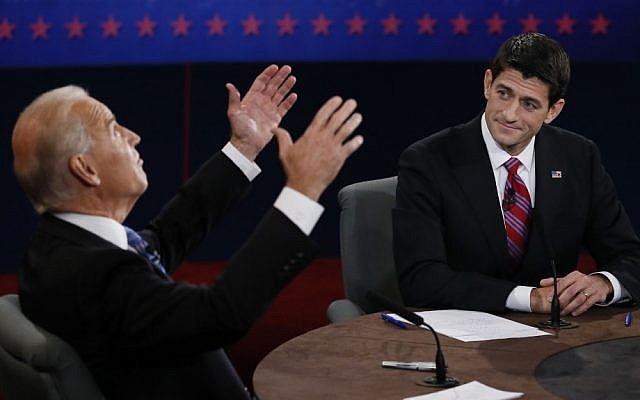 Vice President Joe Biden, left, faces off against vice presidential nominee Paul Ryan in Danville, Kentucky on Thursday (photo credit: AP/Rick Wilking)