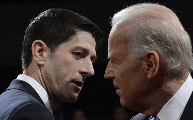 US Vice President Joe Biden, right, and Republican vice-presidential nominee, Rep. Paul Ryan, after the vice-presidential debate in Danville, Kentucky, on Thursday (photo credit: AP/Michael Reynolds)