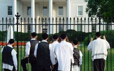 A group of Orthodox Jews stop to gaze at the White House. (photo credit: Haim Shohat /Flash90)