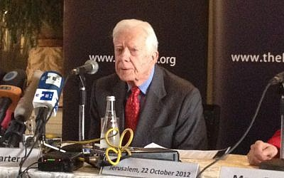 Former US President Jimmy Carter speaks to reporters in Jerusalem in October. (Photo credit: Raphael Ahren/The Times of Israel)