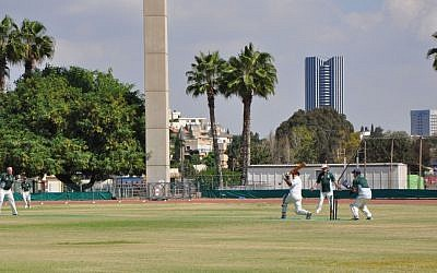 England's legendary spin bowler and former team captain, John Emburey, in action against an Israeli batsman, Friday in Tel Aviv (photo credit: Michal Shmulovich/ToI)
