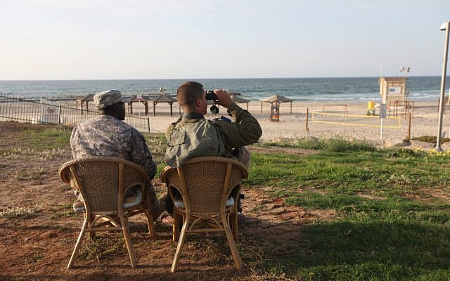 U.S. Army and IDF soldier participating in the previous joint Israeli-U.S. air-defense exercise in Tel Aviv (Photo credit: Flash 90)