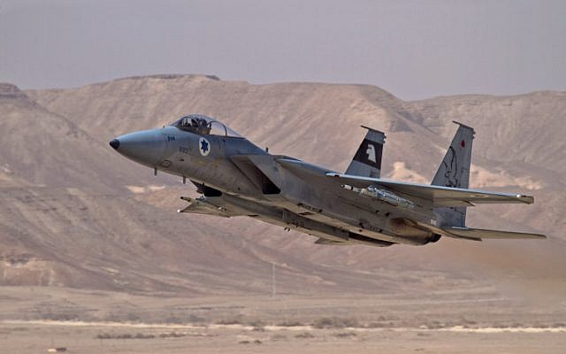 An Israeli fighter jet takes off during a training sortie in February 2010. (Ofer Zidon/Flash90)