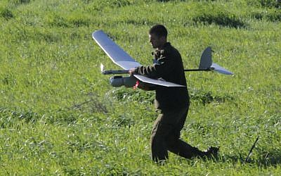 An Israeli soldier preparing a UAV for a flight over the Settlement of Itamar in 2011. (Photo credit: Flash90/Nati Shohat).