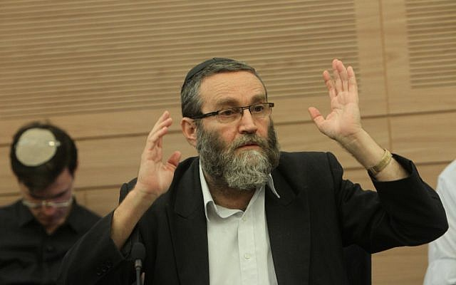 MK Moshe Gafni telling the committee there is no chance of drafting the ultra-Orthodox community by force (photo credit: Miriam Alster/Flash90)