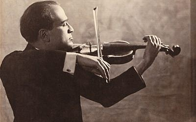 Polish-born violinist Bronislaw Huberman saved dozens of musicians and hundreds of their family members from the Holocaust while creating what would become the Israel Philharmonic Orchestra. (Photo credit: Courtesy of the Felicja Blumenthal Music Center Library/Huberman Archive via First Run Features)