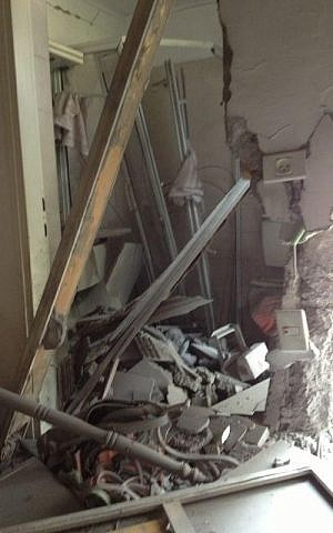 The inside of a house hit by a rocket fired from Gaza on Wednesday, Oct. 24 (photo credit: IDF Spokesman's Office)