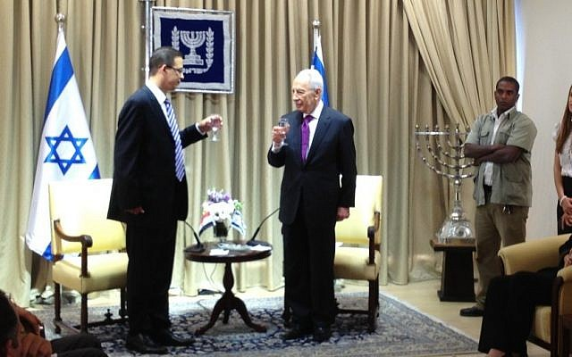 New Egyptian Ambassador Salem, left, with then-president Shimon Peres in his Jerusalem residence in October 2012 (photo credit: Raphael Ahren/Times of Israel)