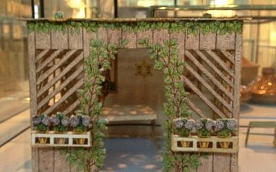A model sukkah for assembly, circa 1925-28, Breslau, Germany (photo credit: Jessica Steinberg/Times of Israel)