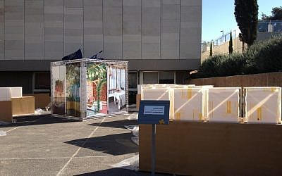 Getting ready for Sukkot Speak at the Israel Museum (photo credit: Jessica Steinberg/Tiimes of Israe)