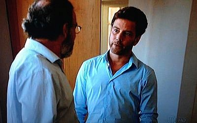 Mandy Patinkin (on the left) and Jonah Lotan in episode 1 (Screen shot/Times of Israel)