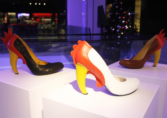 Kobi Levi's new Rooster and Chicken pumps at the Selfridges pop-up store (Courtesy Selfridges)