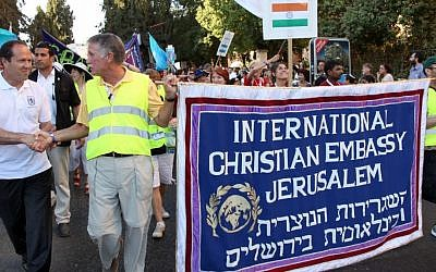 Jerusalem Mayor Nir Barkat, right, with marchers at last  year's annual Feast of Tabernacles (photo credit: Sasson Tiram)