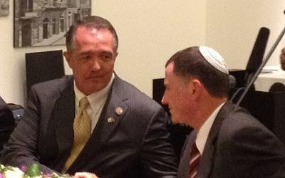 Republican Congressman Trent Franks, left, speaking with Minister Yuli Edelstein in Jerusalem (photo credit: Raphael Ahren/Times of Israel)