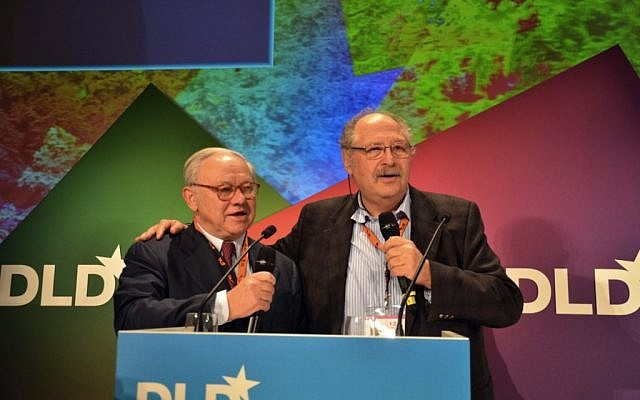 Yossi Vardi (right) with Hubert Burda at a recent DLD conference. Burda is chairman of Hubert Burda Media, a sponsor of the event (photo credit: DLD/Hubert Burda Media)