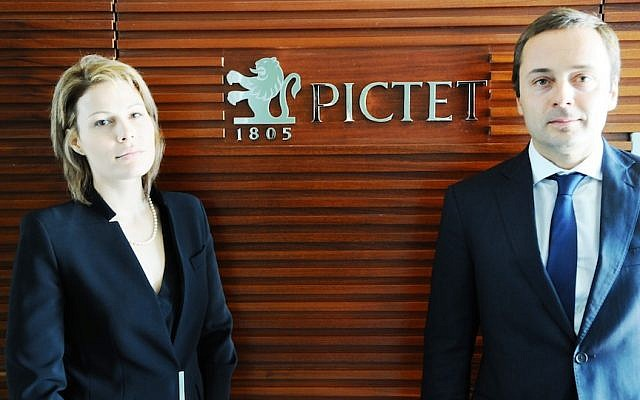 Bertrand Demole, Senior Partner at Bank Pictet (right) with Karen Shavek, manager of Pictet's Tel Aviv branch (photo credit: Courtesy)