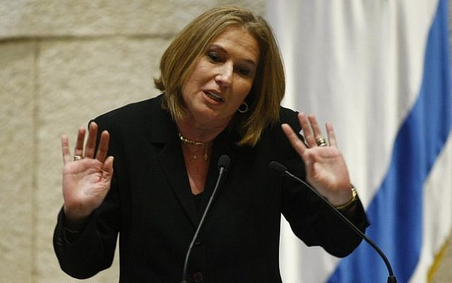 Tzipi Livni gestures during a 2010 Knesset session (photo credit: Abir Sultan/Flash90)