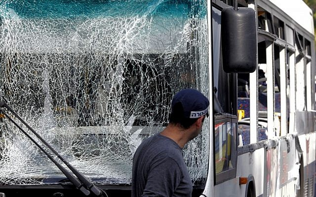 The front of a bus that was targeted in a bombing attack in Tel Aviv, Wednesday, November 21, 2012 (photo credit: Flash90)