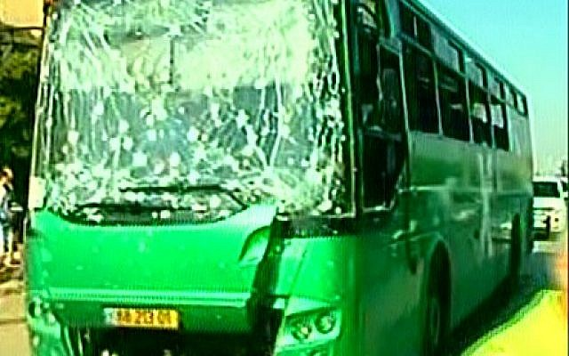 A Beersheba bus that was damaged by rocket fire from Gaza, Tuesday (photo credit: Channel 2 screen capture)