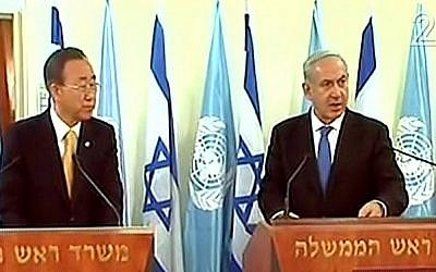 Prime Minister Benjamin Netanyahu and UN Secretary General Ban Ki-moon address the press in Jerusalem, Tuesday (photo credit: Channel 2 screen capture)