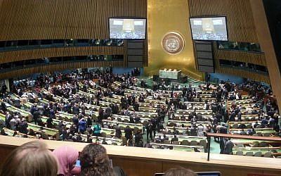 The UN General Assembly (photo credit: Haviv Rettig Gur/Times of Israel staff)