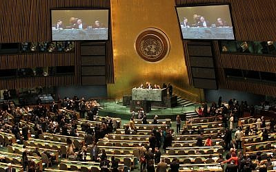 The United Nations General Assembly hall in New York (photo credit: CC BY-linh.m.do/Flickr/File)