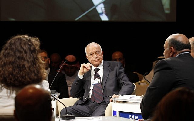 Nabil Elaraby at an economic conference in Jordan, 2011 (photo credit: CC-BY-SA World Economic Forum/Nader Daoud/Flickr)