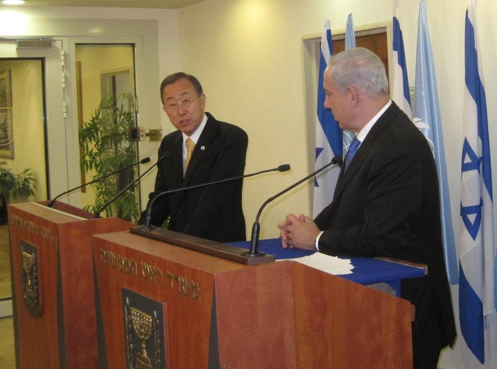 UN Secretary-General Ban Ki-moon (left) and Prime Minister Benjamin Netanyahu hold a joint press conference in Jerusalem on Tuesday. (photo credit: UN Spokesperson via Twitter)