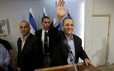 Ehud Barak at a press conference Monday. (photo credit: AP/Oded Balilty)