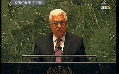 Palestinian Authority President Mahmoud Abbas addresses the UN General Assembly on Thursday, November 29 (screen capture Channel 2)