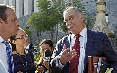 Steve Seiden, attorney for Mark Basseley Youssef, speaking after a hearing for his client at US District Court in Los Angeles on.Wednesday (photo credit: AP/Reed Saxon)