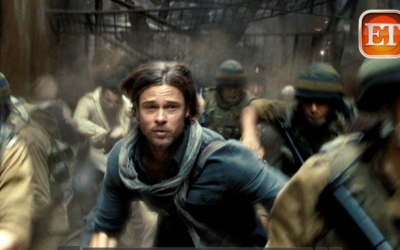 Brad Pitt running with 'IDF soldiers' in a preview clip from the film 'World War Z.' (photo credit: Screenshot/YouTube/ET)