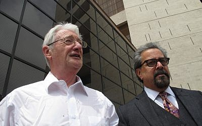 Christopher Tappin, left, leaves federal court with one of his lawyers, Kent Schaffer, in El Paso, Texas on Thursday (photo credit: AP//Juan Carlos Llorca)