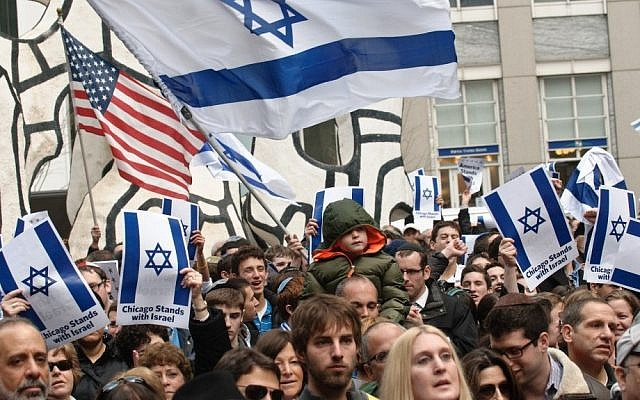 File: Americans rally in support of Israel, Chicago, November 2013. (photo credit: Courtesy JUF Chicago/JTA)