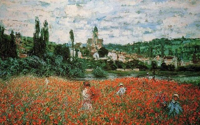 Monet painting, Poppy Field near Vetheuil (photo credit: reproduction, AllArtClassic.com)