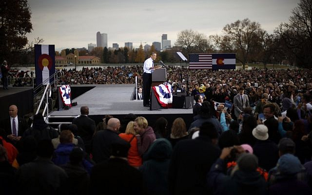 President Barack Obama speaks at a campaign event at City Park in Denver in October (photo credit: AP/Pablo Martinez Monsivais)