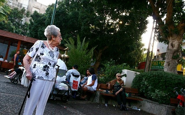 An elderly Israeli woman keeping it real on the streets of Ramat Gan (photo credit: Chen Leopold/Flash90/File)