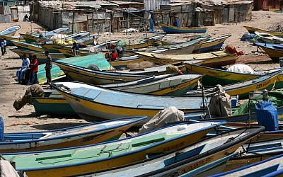 Palestinian fishing boats in Gaza in 2008 (photo credit: Wissam Nassar/Flash 90)