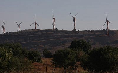 Power generating wind turbines in the Golan Heights next to moshav Alonei Habashan in 2008 (photo credit: Yossi Zamir/Flash90)